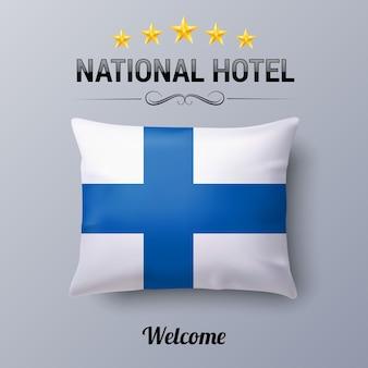 Realistisches kissen und flagge von finnland als symbol national hotel