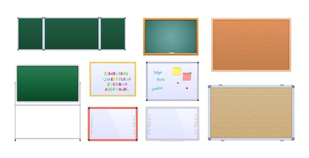 Realistisches klassenbrett-set. zurück zur schule. lehrmittel für die durchführung von präsentationsstunden