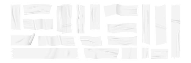 Realistisches klebeband gesetzt. sammlung von realistischen stil gezeichneten klebstoffen stücke von geklebten papieraufklebern und streifen.
