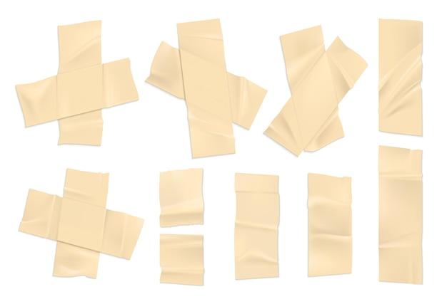 Realistisches klebeband. streifen aus altem papier mit zerrissenen kanten, klebriges stück klebeband. vektorillustrationssatz dekorativ des klebebandes lokalisiert auf weißem hintergrund