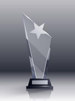 Realistisches konzept der glastrophäe mit champion- und führungssymbolen