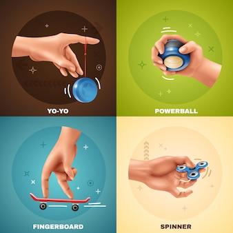 Realistisches konzept der handspiele mit yoyo griffbrett-powerball und spinner lokalisiert auf buntem