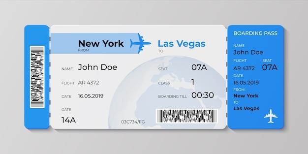 Realistisches konzept der ticketillustration für abflugfluglinien-geschäftsreise
