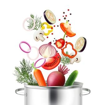 Realistisches konzept des gemüses und des topfes mit bestandteilen und kochen von symbolen vector illustration