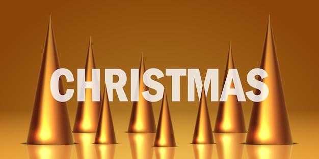 Realistisches konzept des goldenen dreieckskegels der kiefer, um weihnachtszeit für grußkarte zu feiern