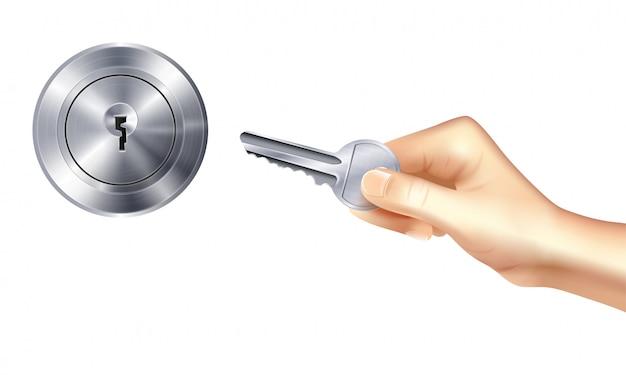 Realistisches konzept des verschlusses und des schlüssels mit metallischem türschlüsselloch und der hand, die schlüssel hält