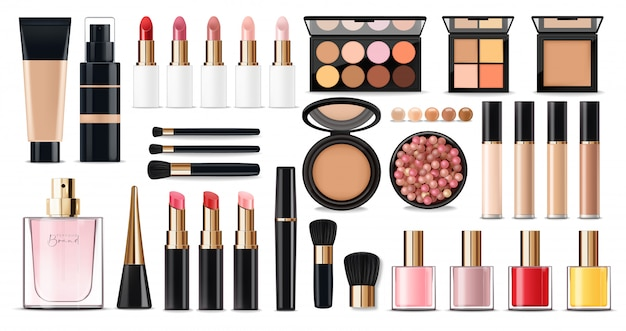 Realistisches kosmetik-make-up-set, make-up-produkt der großen kollektion, puder, lippenstift, mascara, make-up-pinsel, lidschatten, concealer, nagellack, parfüm und eyeliner, gesichtsset