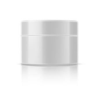 Realistisches kosmetikglasmodell. runde flasche mit glänzender cremeverpackung. leeres weißes hautpflegegel, lotion. natürliche inhaltsstoffe anti-aging-creme. facelifting-creme.