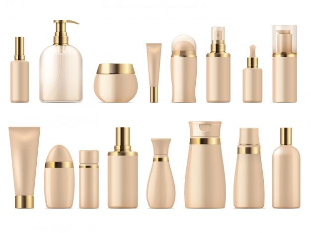Realistisches kosmetikpaket. gold schönheitsprodukt 3d modell shampoo flasche lotion pumpe. luxus-paketvorlage