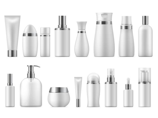 Realistisches kosmetikpaket. schönheitskosmetikprodukt leer weiße packung spa kosmetik leer. plastikpflegeflaschenschablone