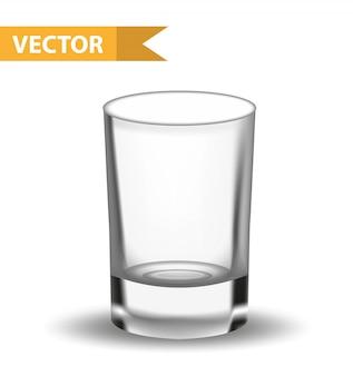Realistisches leeres glas. schuss für gastronomen, barsammlung. glaswaren für flüssigkeiten. auf weißem hintergrund. illustration.