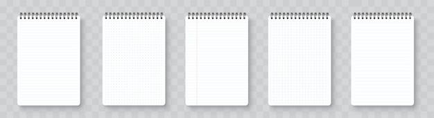 Realistisches leeres notizbuch. notizblock modell mit schatten isoliert auf isoliertem hintergrund
