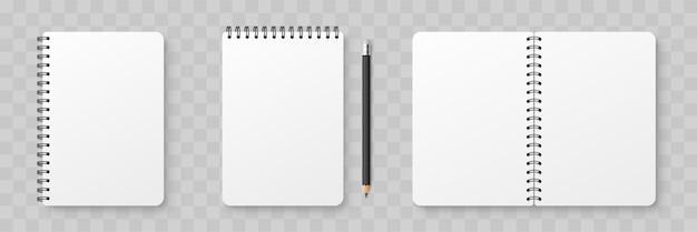 Realistisches leeres notizbuch. notizblock modell mit schatten isoliert auf isoliertem hintergrund Premium Vektoren