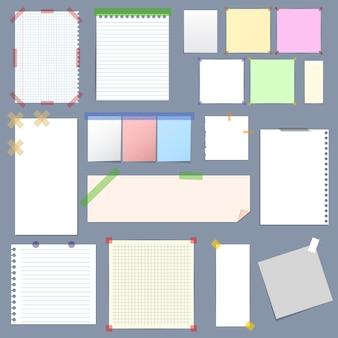 Realistisches leeres notizpapier mit klebrigem buntem klebeband-satz auf grauem hintergrund. illustration