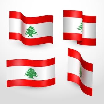 Realistisches libanesisches flaggenpaket