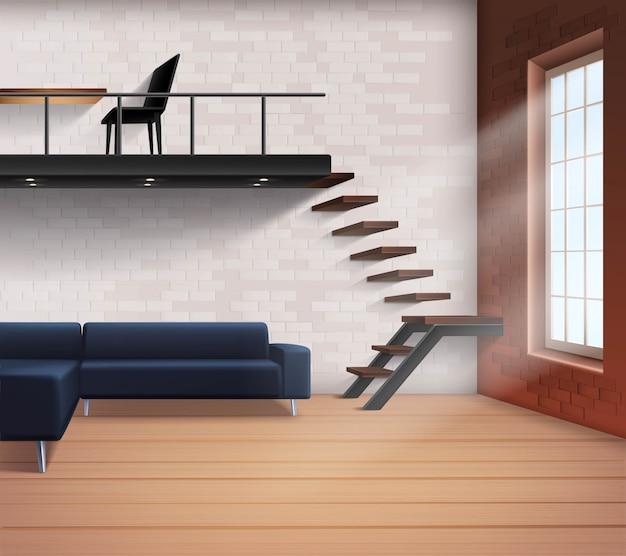 Realistisches loft-interieurkonzept