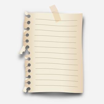 Realistisches loseblattpapier mit transparentem abdeckband