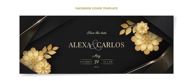 Realistisches luxus-facebook-cover für die goldene hochzeit Kostenlosen Vektoren