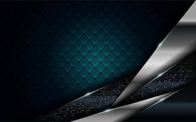 Realistisches marineblau kombiniert mit silberner und schwarzer linie strukturiertem hintergrund