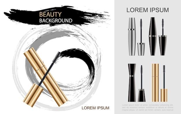 Realistisches mascara-pinselkonzept mit schwarz-silbernen goldenen röhren und kosmetischer pinselabstrichillustration,