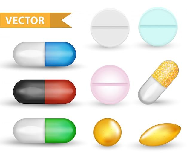 Realistisches medizinisches pillenkapselset. 3d-sammlung von drogen und tabletten. arzneimittel antibiotika, vinamine, fischöle. auf weißem hintergrund isoliert. .