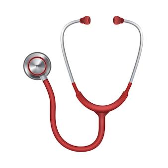 Realistisches medizinisches stethoskop, phonendoscope lokalisiert auf weißem hintergrund. medizinisches instrument für li