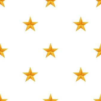Realistisches metallisches goldenes sternenmuster auf weißem hintergrund. vektorgrafik auf lager.