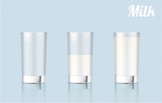 Realistisches milchglas 3d für nahrungsmittel- und getränkprodukt