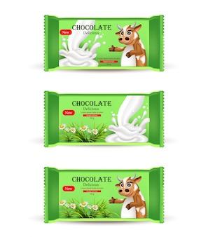 Realistisches milchschokoladenstangenspott oben, produktverpackung