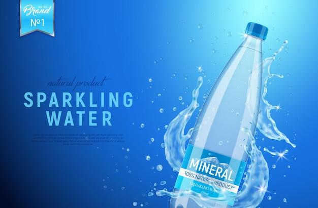 Realistisches mineralwasserplakat mit wasserspray und markenflaschenverpackung mit bearbeitbarem text