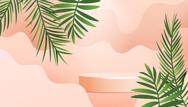 Realistisches minimalprodukt-podium mit grünen tropischen palmblättern und sanfter welle