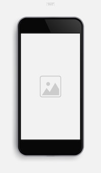 Realistisches mobiltelefon mit anwendungsbild auf bildschirmhintergrund