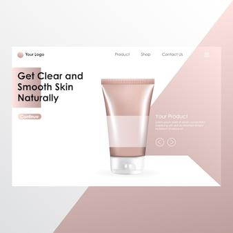 Realistisches mock up des kosmetischen produkts mit landing page illustration