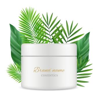 Realistisches modell der grünen blätter und der kosmetikrohrschachtel