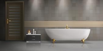 Realistisches Modell für modernes Badezimmer-Interieur mit weißer freistehender Badewanne aus Keramik