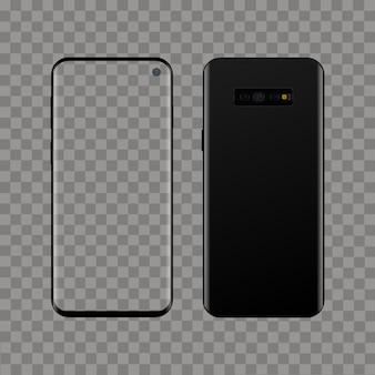 Realistisches modernes intelligentes telefon auf transparentem hintergrund. vektor