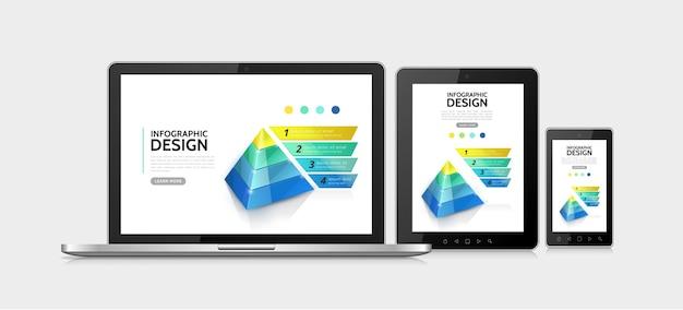 Realistisches modernes konzept der infografischen elemente