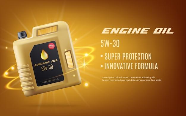 Realistisches motormaschinenöl-werbeplakat mit goldenem kanistermodell und etikettenschablone auf glänzendem goldhintergrund. motorschutzproduktwerbung - vektorillustration