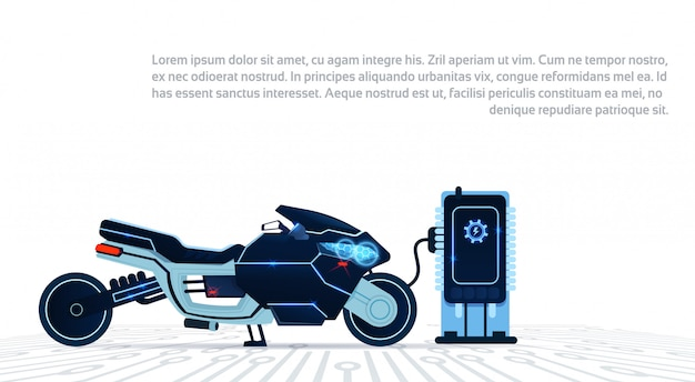 Realistisches motorrad, das an vom strom-blauen sport-elektrischen motorrad während hintergrund auflädt