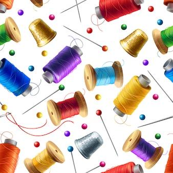 Realistisches nahtloses Muster mit nähenden Werkzeugen. Dekorativer Hintergrund mit Zubehör