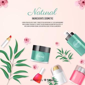 Realistisches natürliches kosmetisches anzeigenplakat