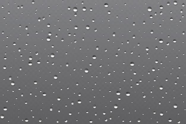 Realistisches nebelglas, regenblasenwasserdampf im fenster. vektorillustration.