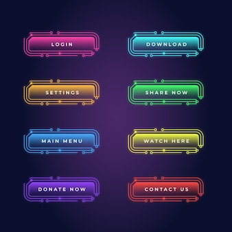 Realistisches neon-call-to-action-button-pack