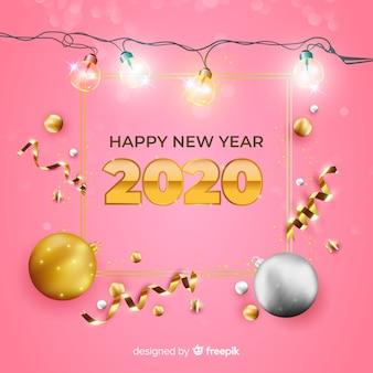 Realistisches neues jahr 2020 auf rosa hintergrund