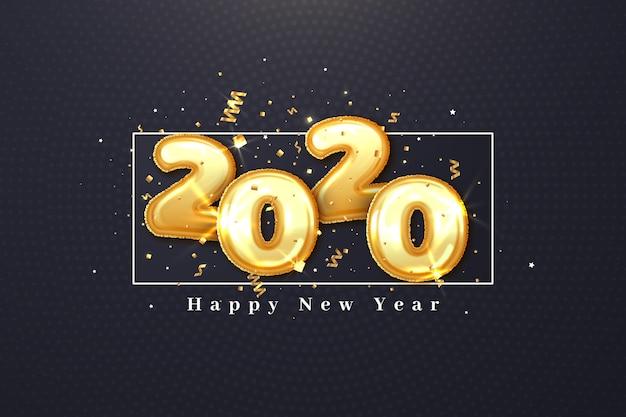 Realistisches neujahrs 2020 ballons tapetendesign