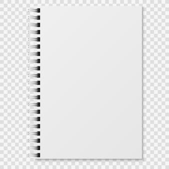 Realistisches notizbuch. leeres geschlossenes spiralbinder weißes heft. papierorganisator oder tagebuchmodell