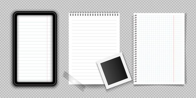 Realistisches notizbuch oder notizblock mit der mappe lokalisiert. notizblock oder tagebuch mit linierten und quadratischen seitenvorlagen.