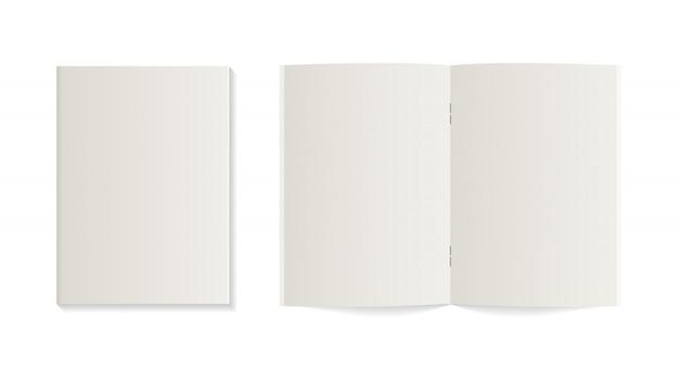 Realistisches notizbuch, tagebuch oder buch. geöffnetes und geschlossenes leeres notizbuchmodell. realistische vektor notebook. modell isoliert. template design.