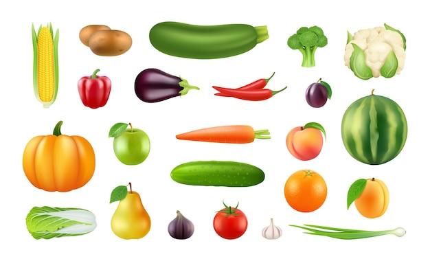Realistisches obst gemüse. große ernte cliparts, isolierte frische lebensmittelelemente auf dem bauernhof. kürbis-apfel-pfeffer-kohl-vektor-illustration. sammlung obst und gemüse, vegetarische kost