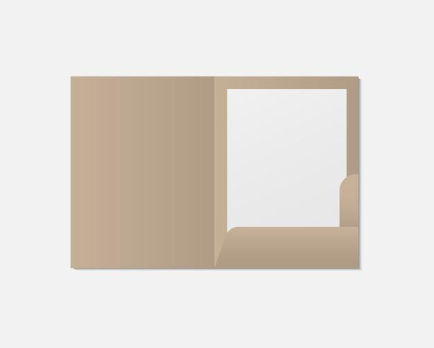 Realistisches offenes ordner- und papiermodell. blankopapier mit ordner. vorlage. vorlage für geschäfts- und markenidentität.